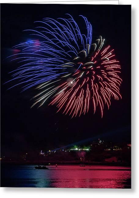 Fireworks Over Portland, Maine Greeting Card
