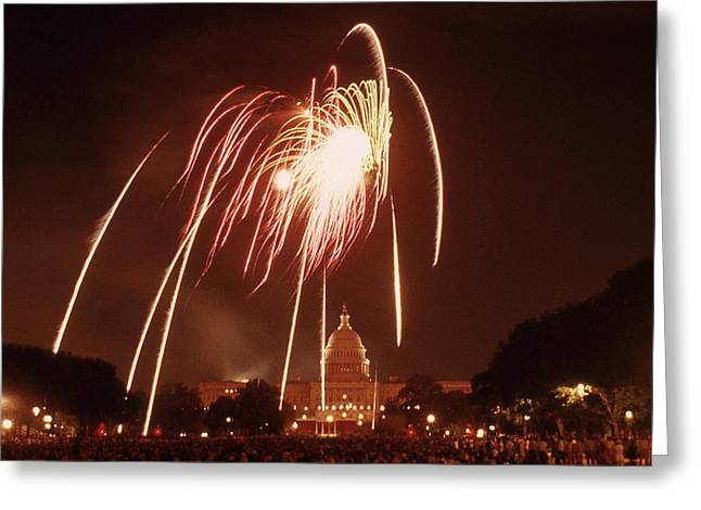Fireworks Over The Capitol Washington Dc 200th Anniversary Greeting Card by Richard Singleton