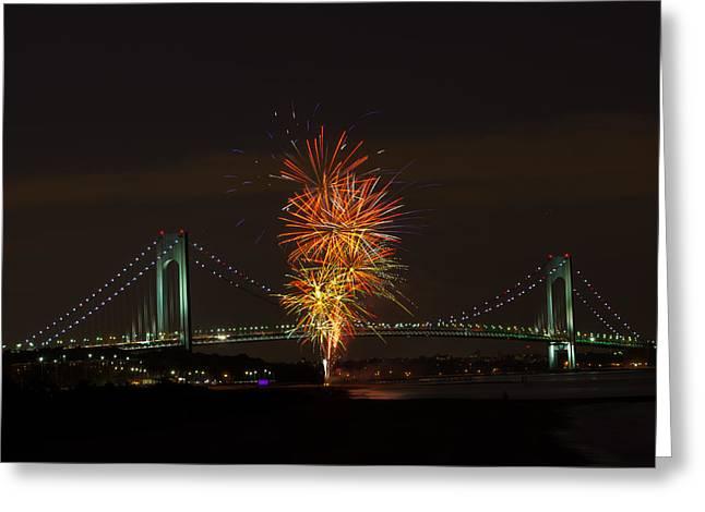 Fireworks Over The Verrazano Narrows Bridge Greeting Card