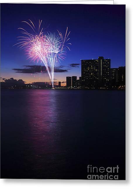 Fireworks Over Waikiki Greeting Card by Brandon Tabiolo - Printscapes