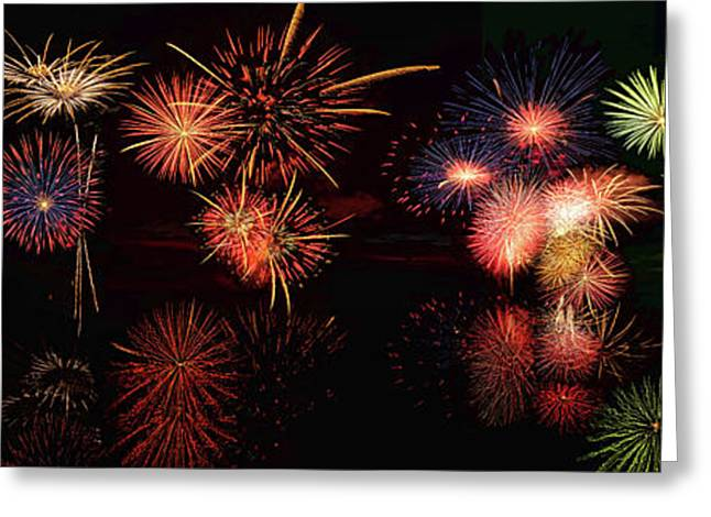 Fireworks Reflection In Water Panorama Greeting Card