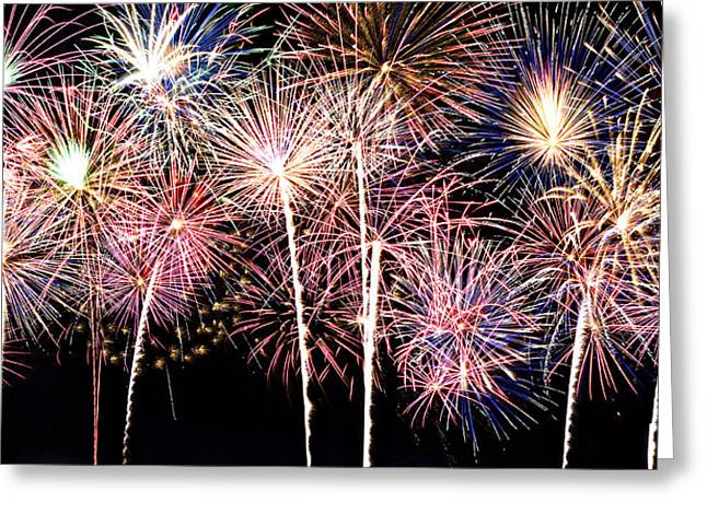 Fireworks Spectacular Greeting Card by Ricky Barnard