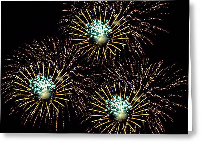 Fireworks - Yellow Spirals Greeting Card by Black Brook Photography