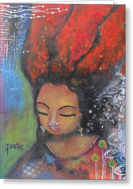Firey Hair Girl Greeting Card by Prerna Poojara