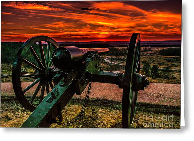 Firey Sky At Little Round Top Greeting Card