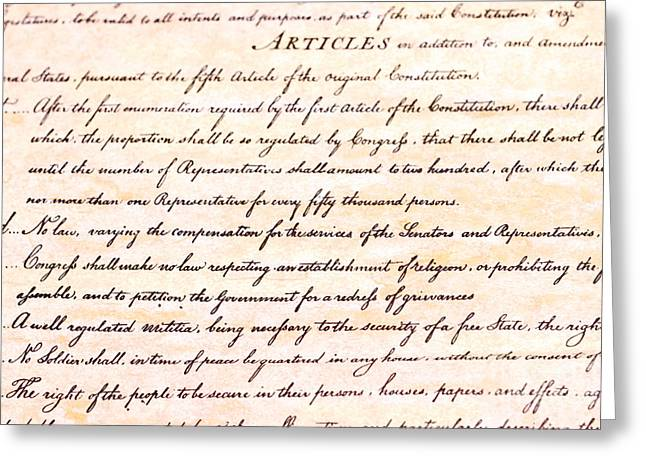 First Amendment  Greeting Card by Jim Pruitt