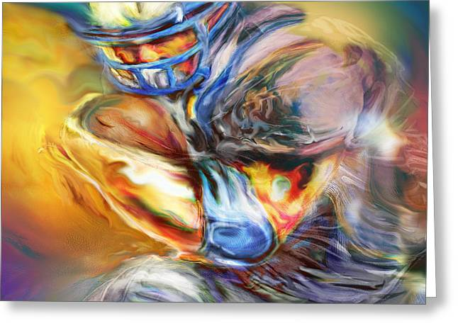 Running Back Paintings Greeting Cards - First and Ten Greeting Card by Mike Massengale