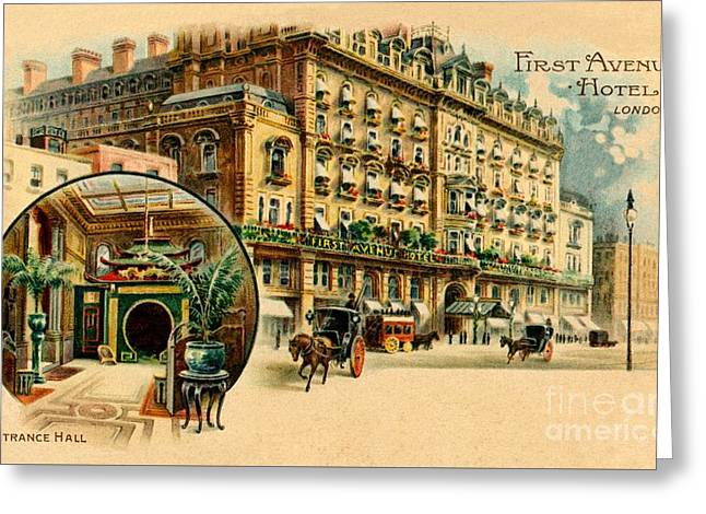 First Avenue Hotel London, Victorian Lithograph Advert Greeting Card
