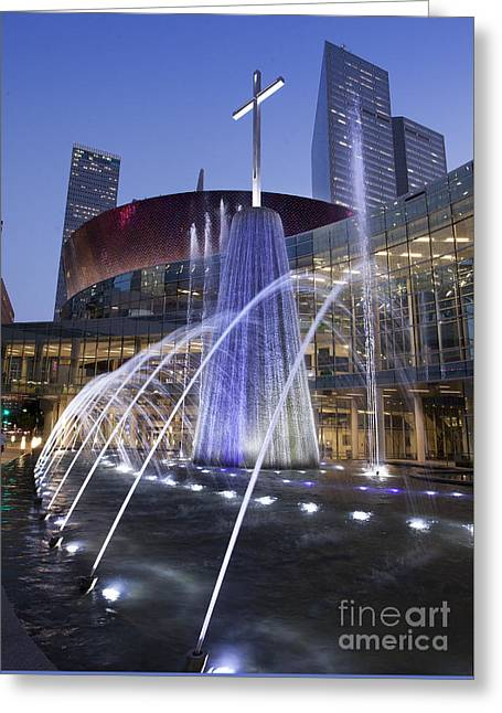 First Baptist Church Dallas Fountain Greeting Card by Greg Kopriva
