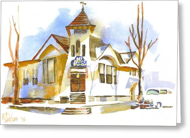 Greeting Card featuring the painting First Baptist Church In Winter by Kip DeVore