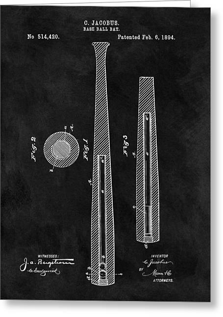 First Baseball Bat Patent Illustration Greeting Card