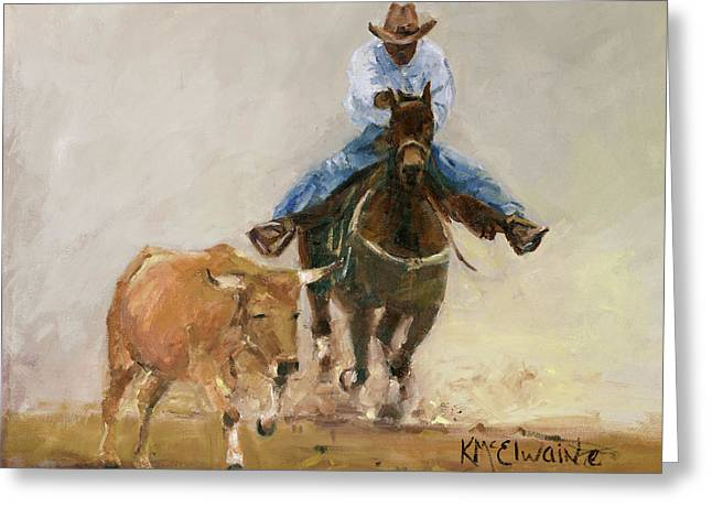 First Bulldogger Bill Picket Oil Painting By Kmcelwaine  Greeting Card