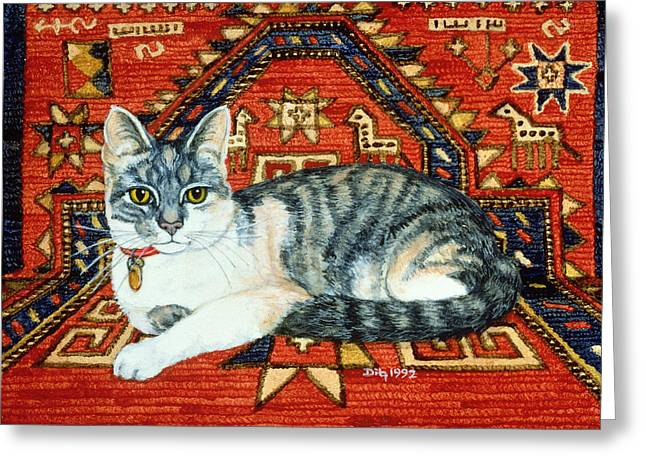 Collar Greeting Cards - First Carpet Cat Patch Greeting Card by Ditz