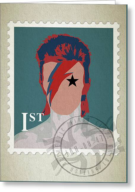 First Class Bowie - Blue Greeting Card by Big Fat Arts