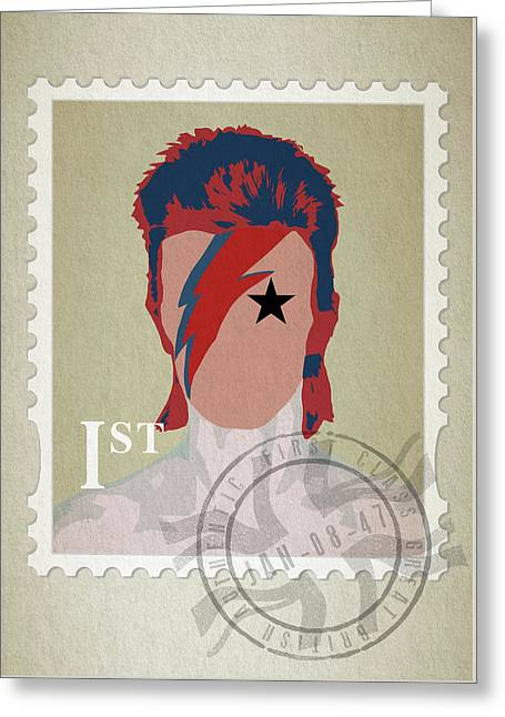 First Class Bowie - Cream Greeting Card by Big Fat Arts