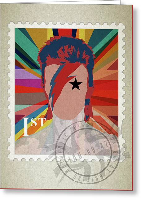 First Class Bowie - Union Greeting Card by Big Fat Arts