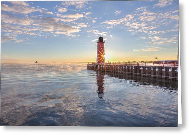First Cold Sunrise Greeting Card