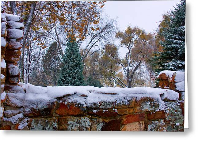 First Colorful Autumn Snow Greeting Card