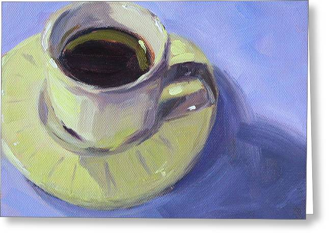Greeting Card featuring the painting First Cup by Nancy Merkle
