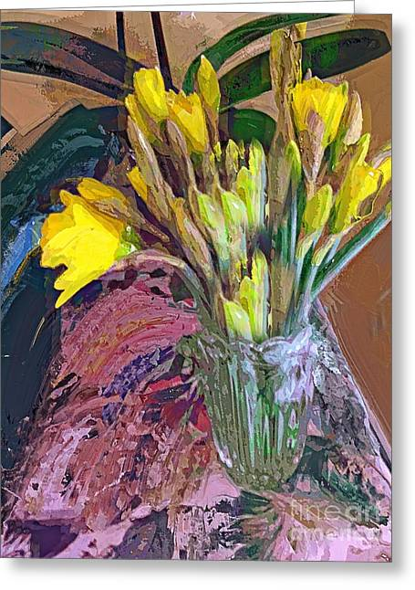 First Daffodils Greeting Card by Alexis Rotella