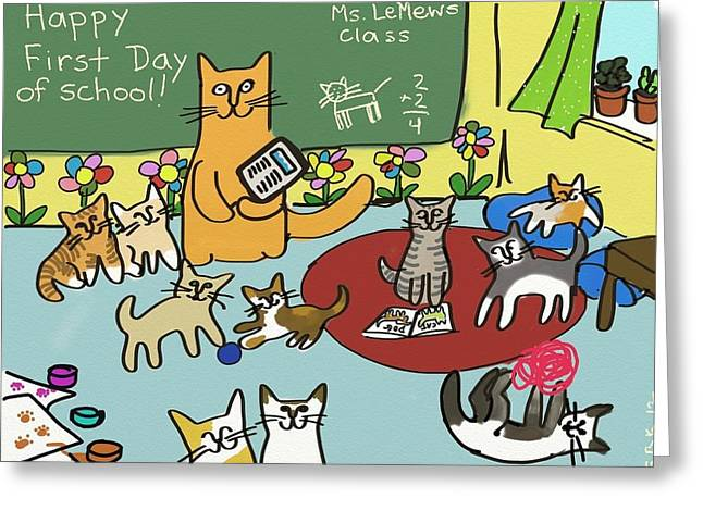 First Day Of School Greeting Card by Connie Kottmann
