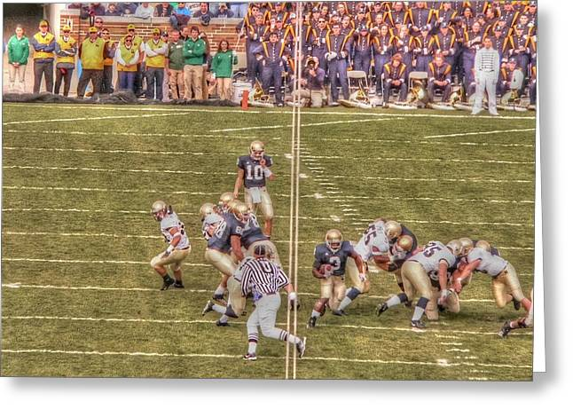Notre Dame Football Greeting Cards - First down - Fighting Irish Greeting Card by David Bearden
