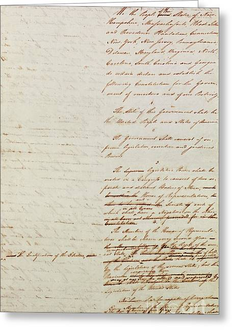 First Draft Of The Constitution Of The United States, 1787 Greeting Card