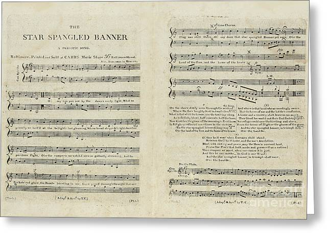 First Edition Of The Sheet Music For The American National Anthem Greeting Card by Francis Scott Key