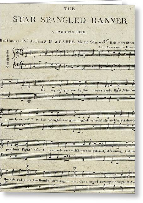 First Edition Of The Sheet Music For The Star Spangled Banner Greeting Card