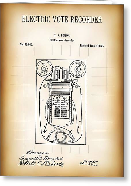 First Electric Voting Machine Patent 1869 Greeting Card by Daniel Hagerman