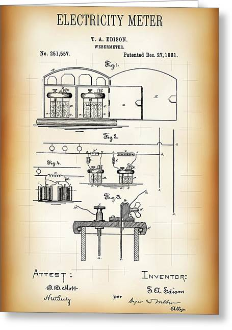 First Electricity Meter Patent 1881 Greeting Card by Daniel Hagerman