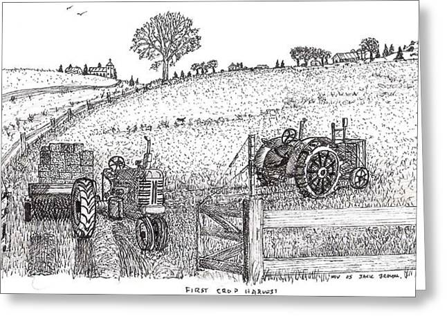 Greeting Card featuring the drawing First Hay Crop by Jack G  Brauer