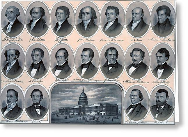 First Hundred Years Of American Presidents Greeting Card by American School