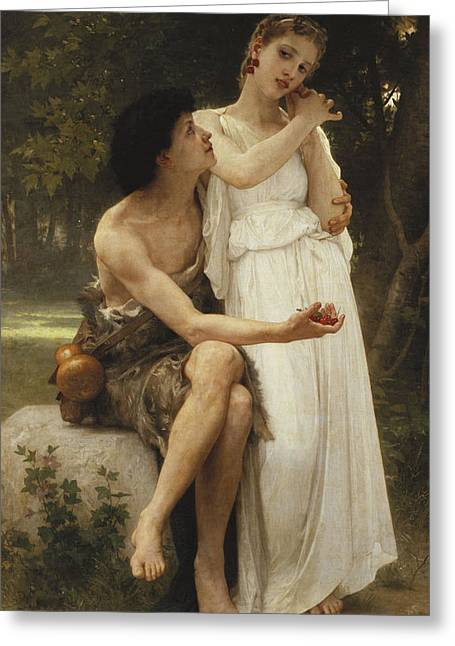First Jewellery Greeting Card by William Adolphe Bouguereau