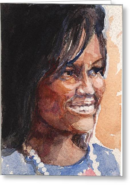 Best Sellers -  - Michelle Obama Paintings Greeting Cards - First Lady in blue Greeting Card by Nancy Watson