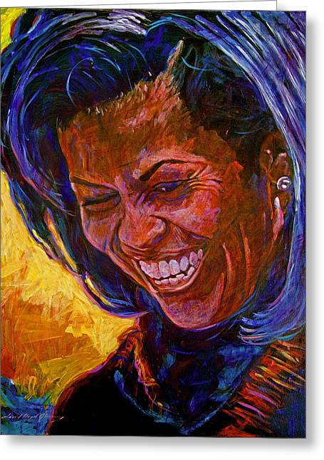 First Lady Michele Obama Greeting Card by David Lloyd Glover