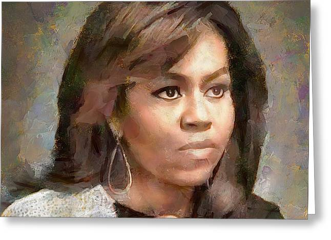First Lady Michelle Obama Greeting Card by Wayne Pascall