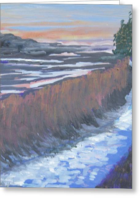 First Light At Newharbor Greeting Card by Lynne Vokatis