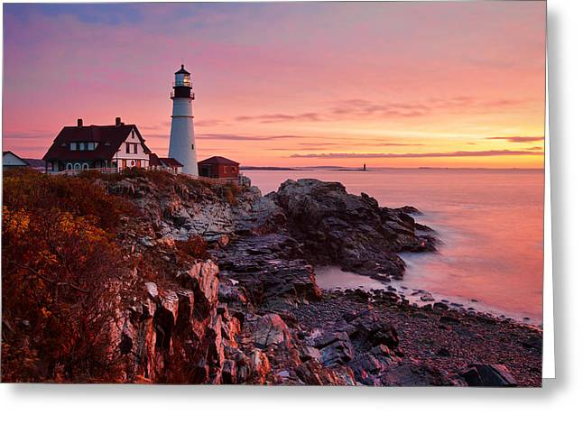 First Light At Portland Head Greeting Card