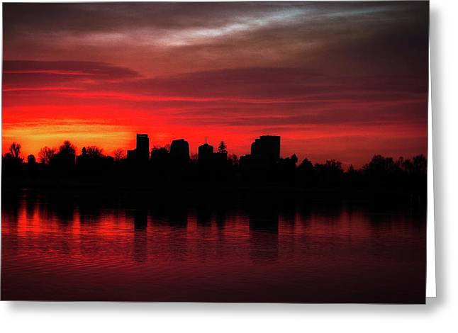 First Light In Denver Greeting Card