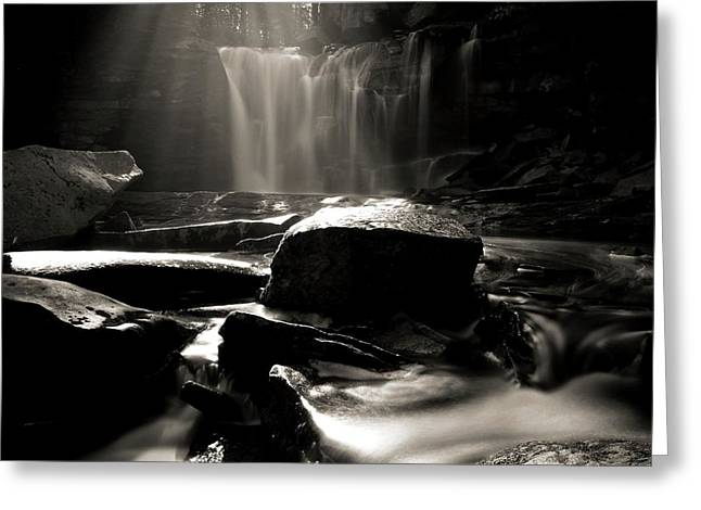 First Light On Elakala Falls Greeting Card by Dan Sproul