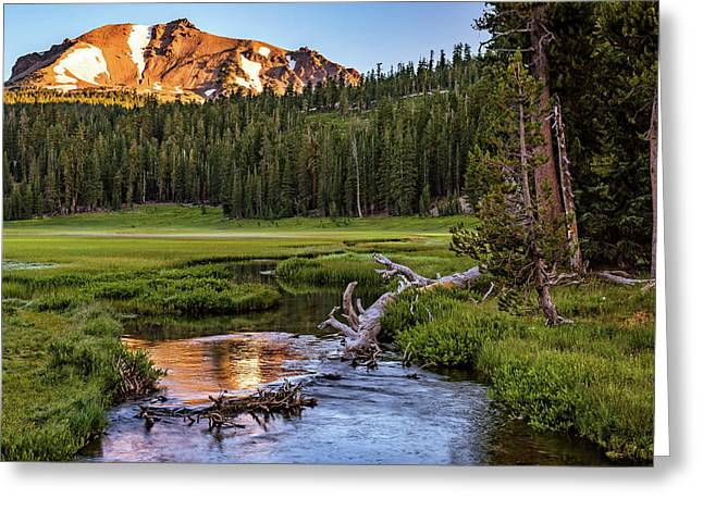First Light On Lassen From Upper Meadow Greeting Card