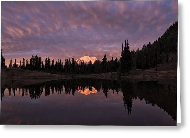 First Light On Mount Rainier Greeting Card