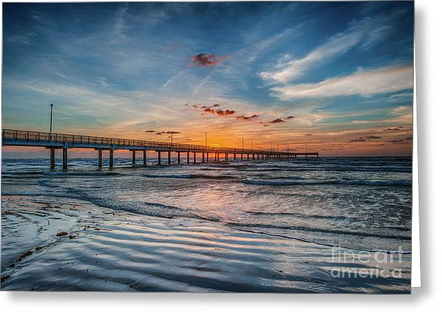First Light Over The Pier Greeting Card