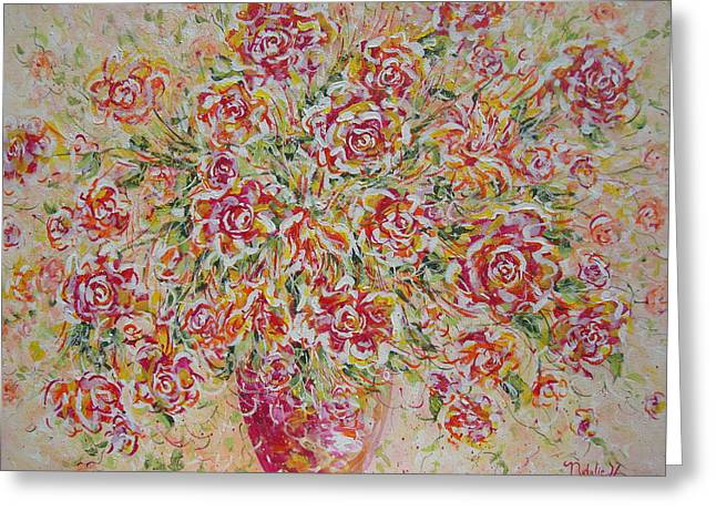 Greeting Card featuring the painting First Love Flowers by Natalie Holland