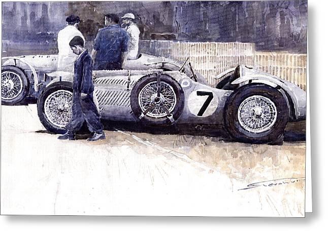 First Met Up Talbot Lago Le Mans 1950 Greeting Card by Yuriy  Shevchuk
