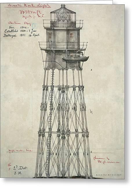 First Minot's Ledge Lighthouse - Massachusetts  1850 Greeting Card