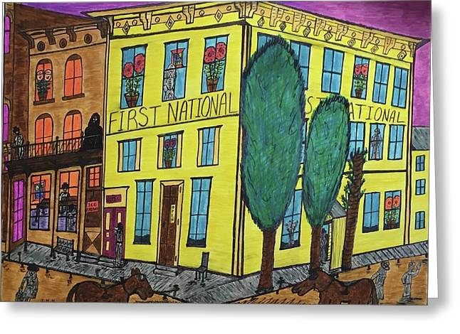 First National Hotel. Historic Menominee Art. Greeting Card
