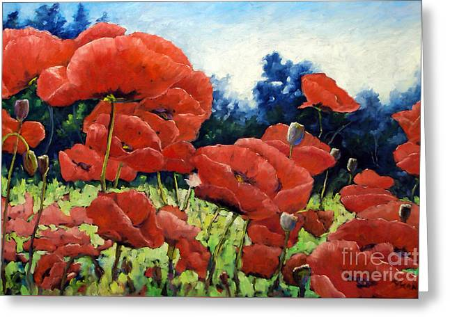 First Of Poppies Greeting Card by Richard T Pranke