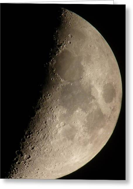 First Quarter Moon Greeting Card by George Leask